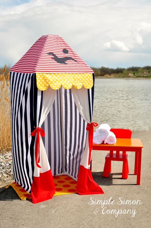 Make this super fun summer cabana yourself using only PVC Pipe and some fabric!   Tutorial - Simple Simon and Company #pvcpipe