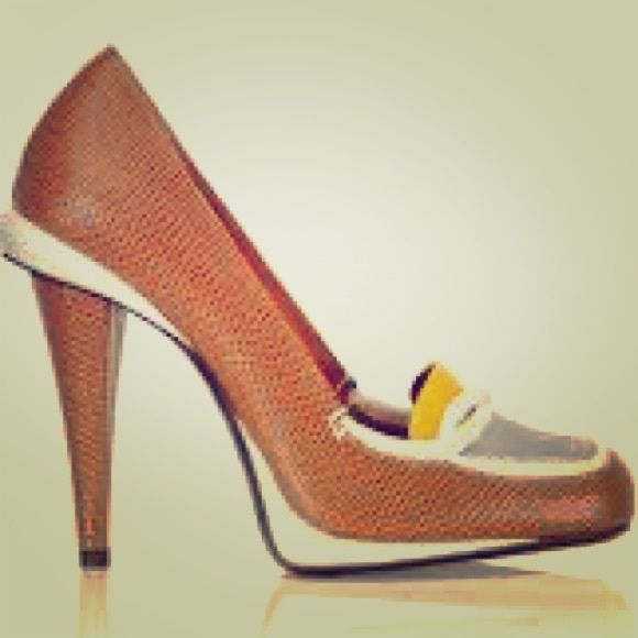 Lizard skin shoes. Fendi Tan lizard high heel loafer from Fendi. Never worn. With silver and yellow details. FENDI Shoes Heels