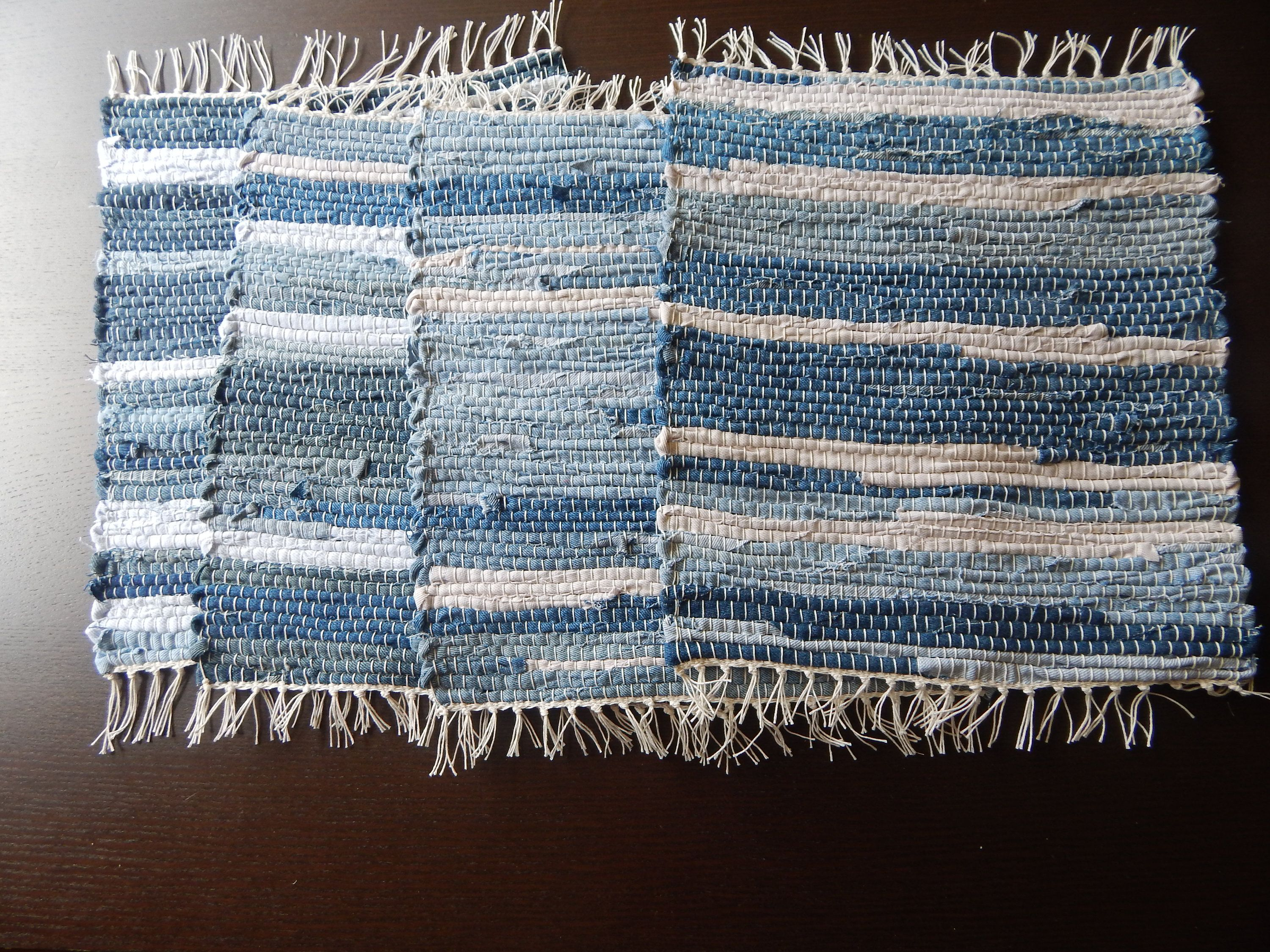 Blue And White Denim In A Stripped Pattern Handwoven Placemats,