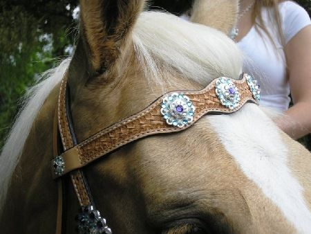 Scalloped Browband Basketweave Headstall with Aquamarine and Purple Velvet Crystals. Beautiful Bling Headstall! Crystal horse tack.
