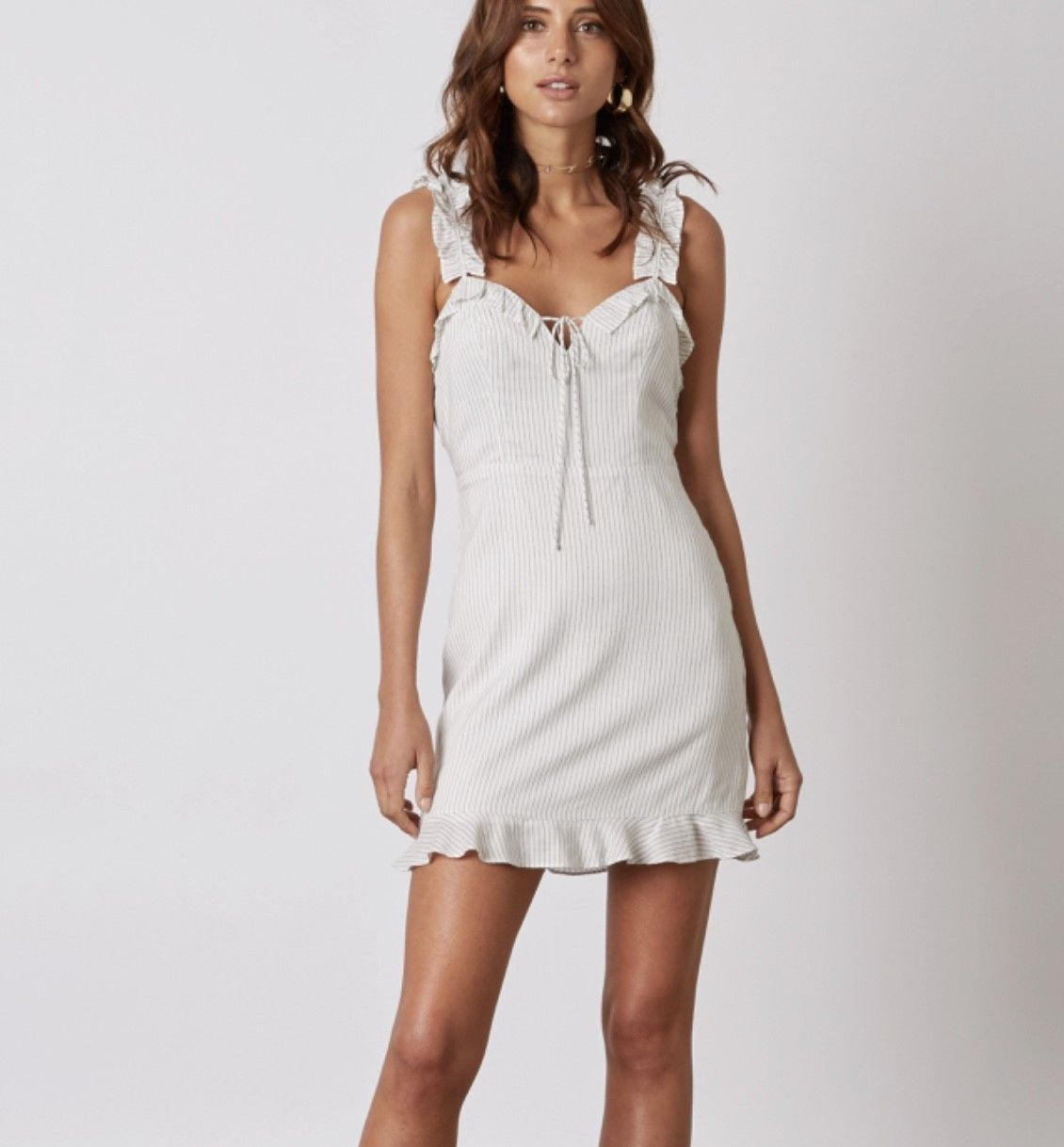 Tulum Ruffle Strap Mini Dress In White Trailing Rose Goods Vestidos Roupas Camisola