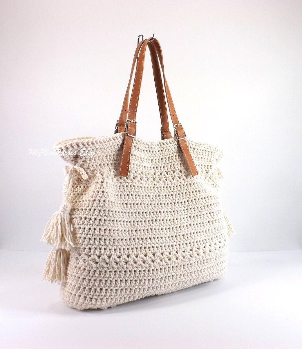 Crochet Bohemian Style Handbag /ECRU/, Crochet Boho Tote Bag ...