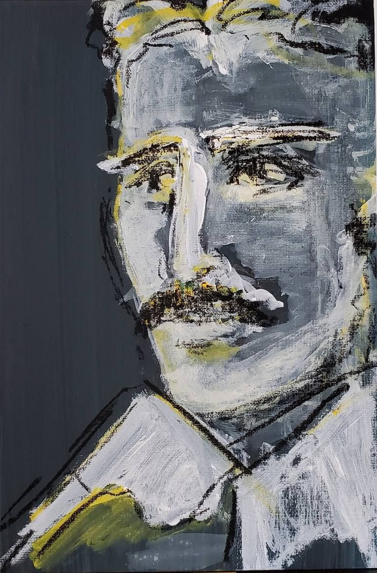 Original Art Acrylic/Charcoal Painting, measuring: 20W x 30H x 1D cm, by: Joanna Dehn Beresford (Mexico). Styles: Impressionism, Expressionism, Portraiture. Subject: Portrait. Keywords: White, Portrait, Expressionism, Futurist, Scientist, Black, Contrast, Engineer, Geometry, Yellow, Tesla, Inventor. This Acrylic/Charcoal Painting is one of a kind and once sold will no longer be available to purchase. Buy art at Saatchi Art.