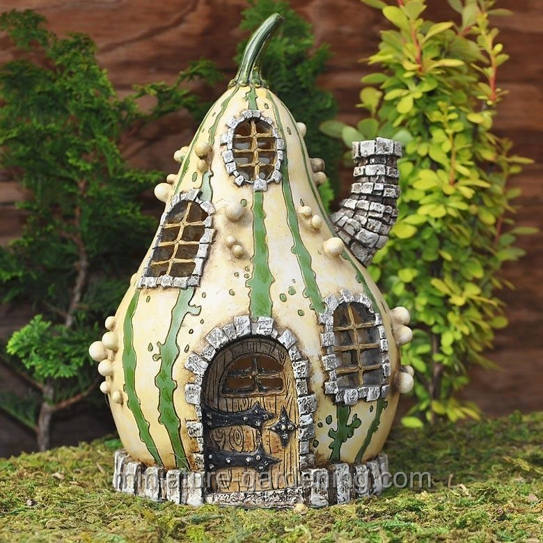 Fiddlehead Striped Gourd Fairy Home is part of Big garden House - This colorful gourd makes a charming addition to any garden  Lots of details and plenty of room for all your garden friends  Add one to your miniature garden and see who moves in! The door is 2 25  High and it also opens