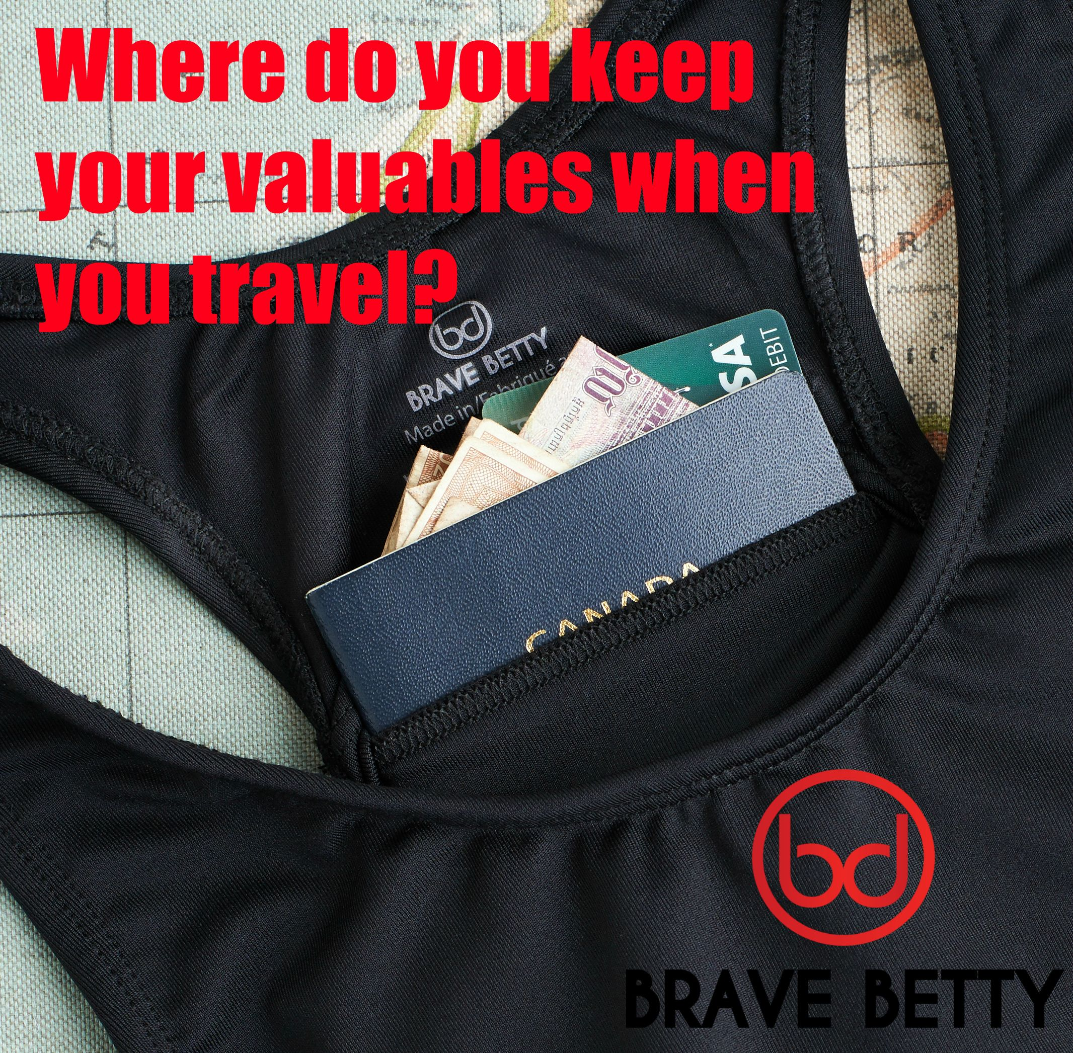 Fits like a sports bra, offers the security of a money