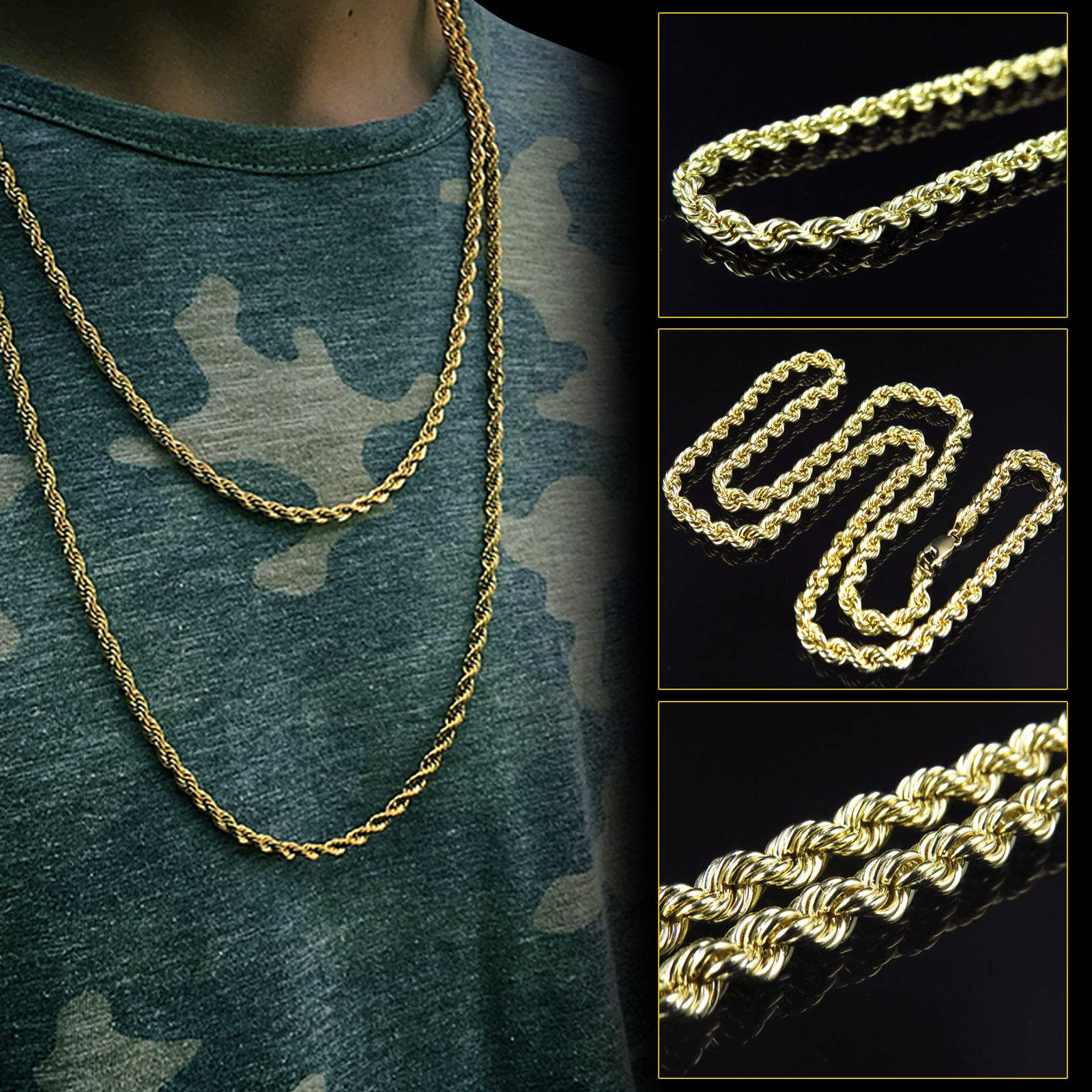 10k Yellow Gold 5mm Hollow Rope Chain Necklace Rope Chain Chain Chain Necklace