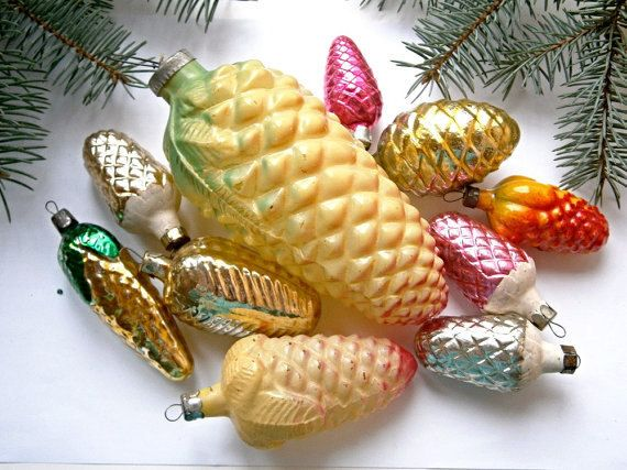 Pine cone coollection Christmas glass ornament,Antique Christmas ornament, Vintage Soviet 1960s Christmas/New Year, Christmas decor