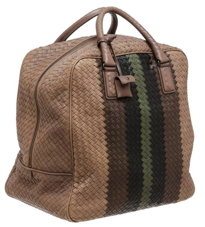 fc1553864c Bottega Veneta Taupe Multicolor Intrecciato Club Stripe Duffle Handbag 2