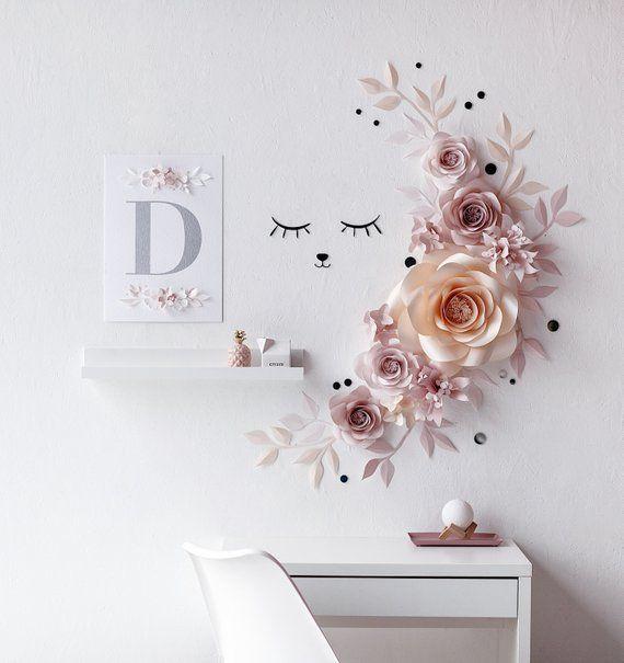 Paper Flowers Wall Decor - Nursery Paper Flowers & Sleepy Eyes Decor - Nursery Paper Flowers #largepaperflowers