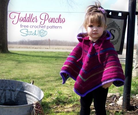 Free Toddler Poncho Crochet Pattern by Stitch11 | Red Heart Patterns ...
