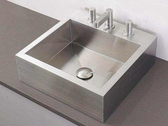 Stainless Steel Vessel Sinks | Bathroom Sinks Modern Rectangular Stainless  Steel Vessel   3 Hole