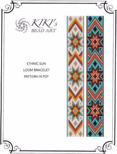 Bead loom pattern for bracelet Ethnic sun loom por KikisBeadArts