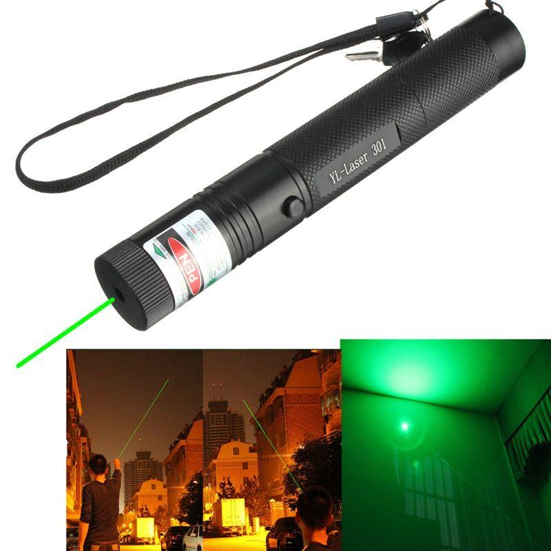 1 UNIDS 301 Potente 532nm de Alta Potencia Puntero láser Verde Quema Lazer Lápiz Puntero Linterna Haz Presentación PPT Pluma Con 2 llaves