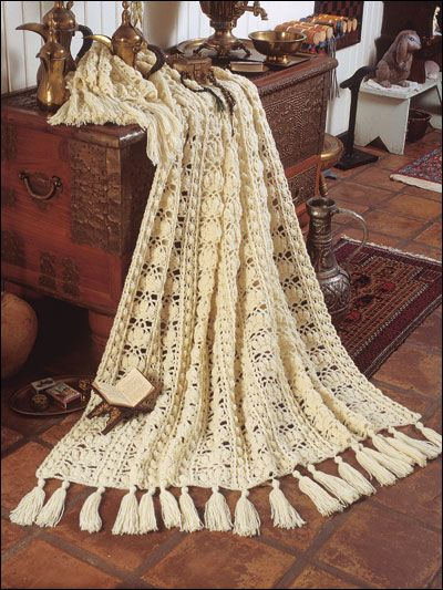 ❤❤❤ ENCHANTING LACE AFGHAN ❤❤❤ One piece wonders afghans - 6 more design patterns to choose from - Easy ~ Crochet Afghan / Blanket / Throw ~ Pattern