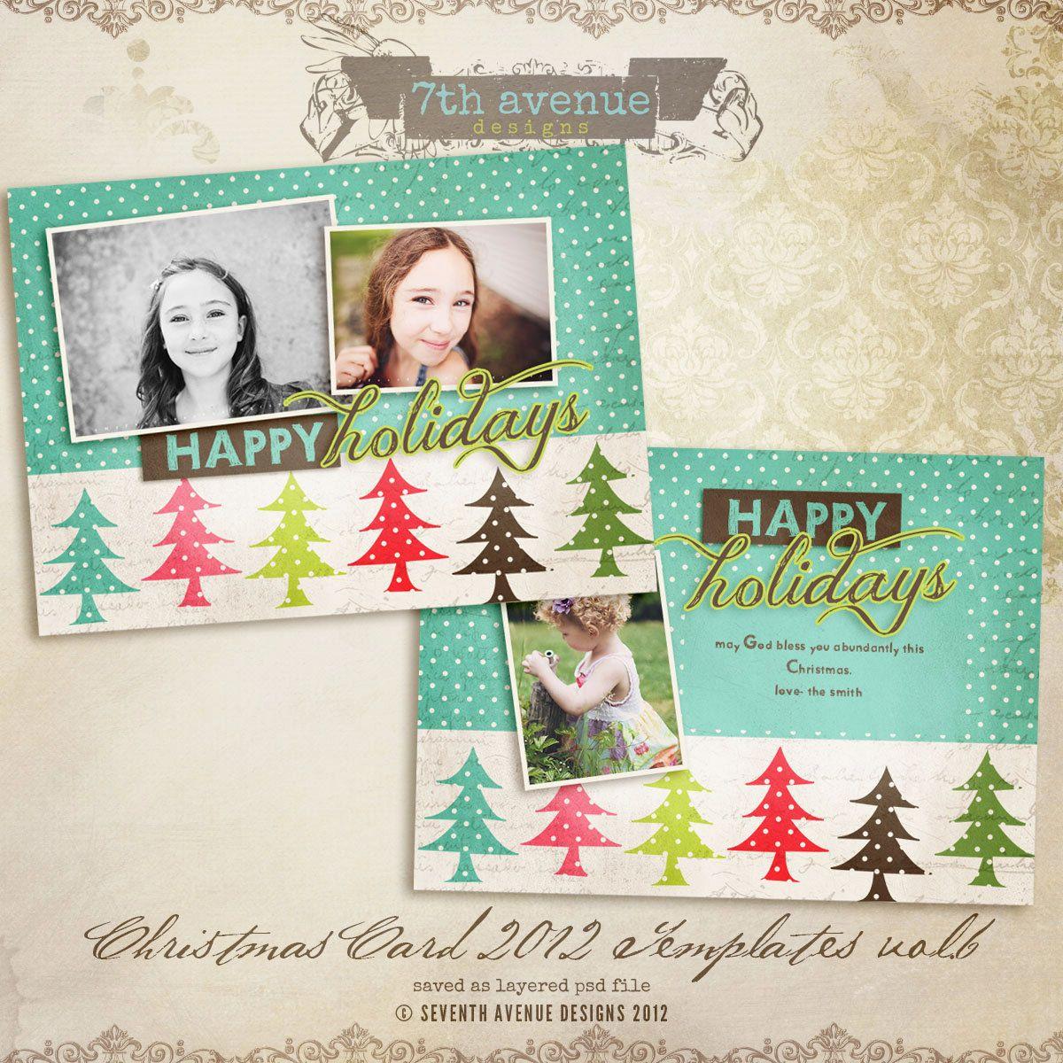 2012 Christmas Card Templates vol.6 -- 7x5 inch card ...