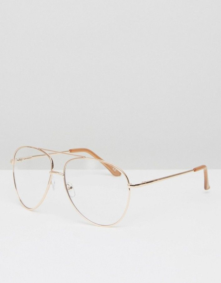 fb1ab4d4561d7 ASOS Geeky Metal Frame Aviator With Clear Lens And Top Bar In Rose Gold