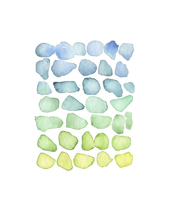 Beach Glass Watercolor Painting By Katrina Pete Seaglass