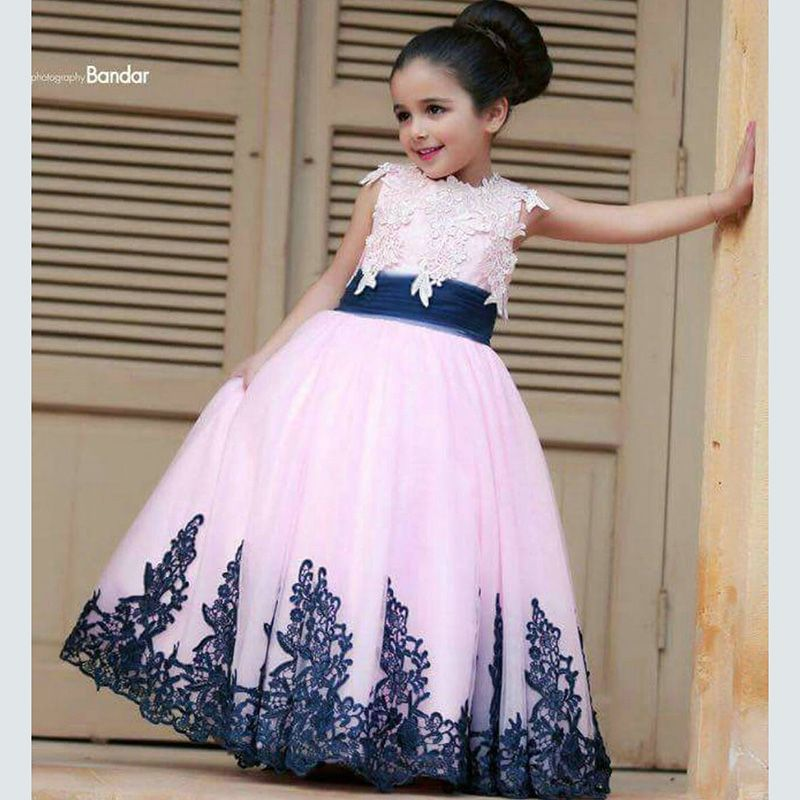 Pink tulle lace navy blue flower girl dresses ball gowns Appliqued ...