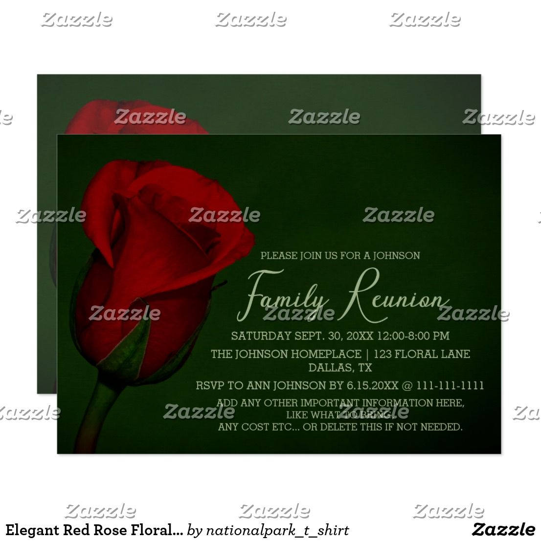 Elegant Red Rose Floral Family Reunion Invitation | Family reunions ...
