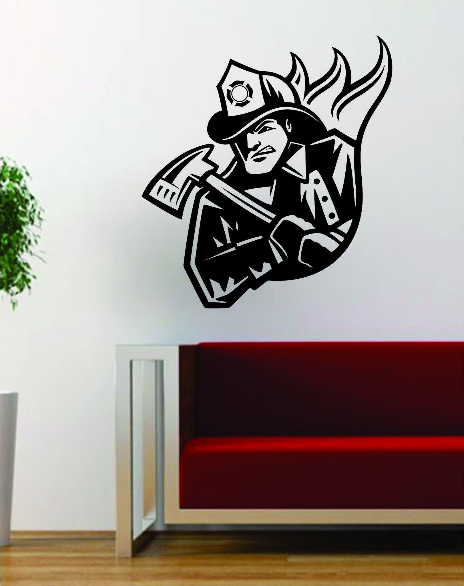 Fireman Firefighter Silhouette Vinyl Wall Words Decal Sticker Graphic
