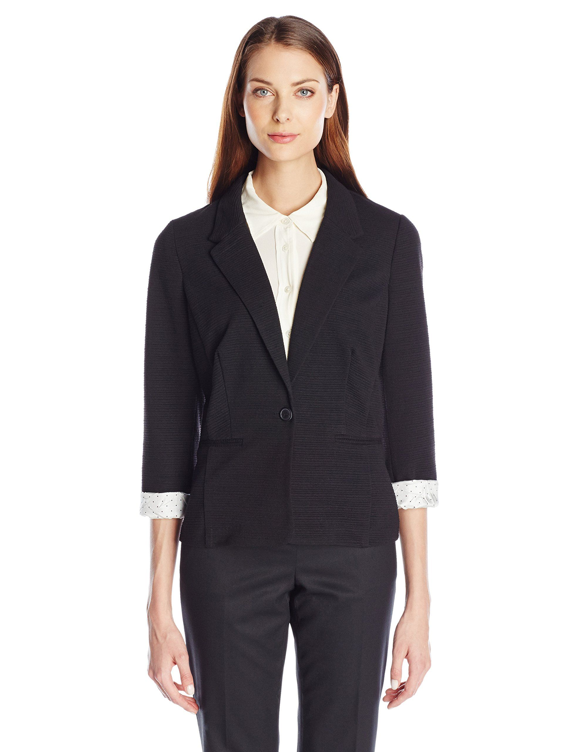 Kensie Women's Ribbed Solid Blazer, Black, X-Small