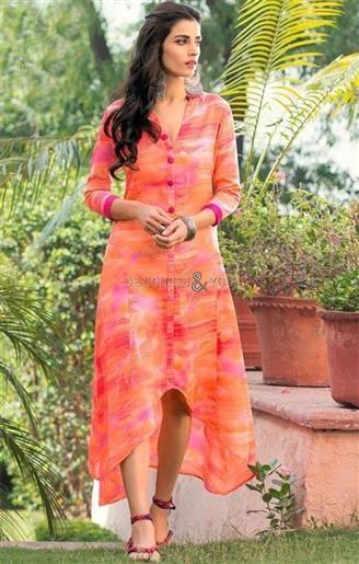 Stand Collar Neck Designs For Salwar Kameez : Marvelous orange knee length long stylish digital printed