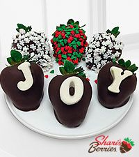 Shari's Berries™ Limited Edition Chocolate Dipped Christmas Joy Holiday Berry Gram - 6 pc ...