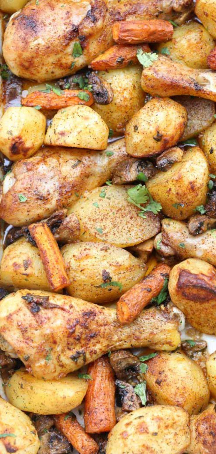 Simple one pan dinner recipe with chicken drumsticks, seasoned vegetables, and potatoes. #onepan #chicken #drumsticks #vegetables #potatoes #onepandinnerschicken