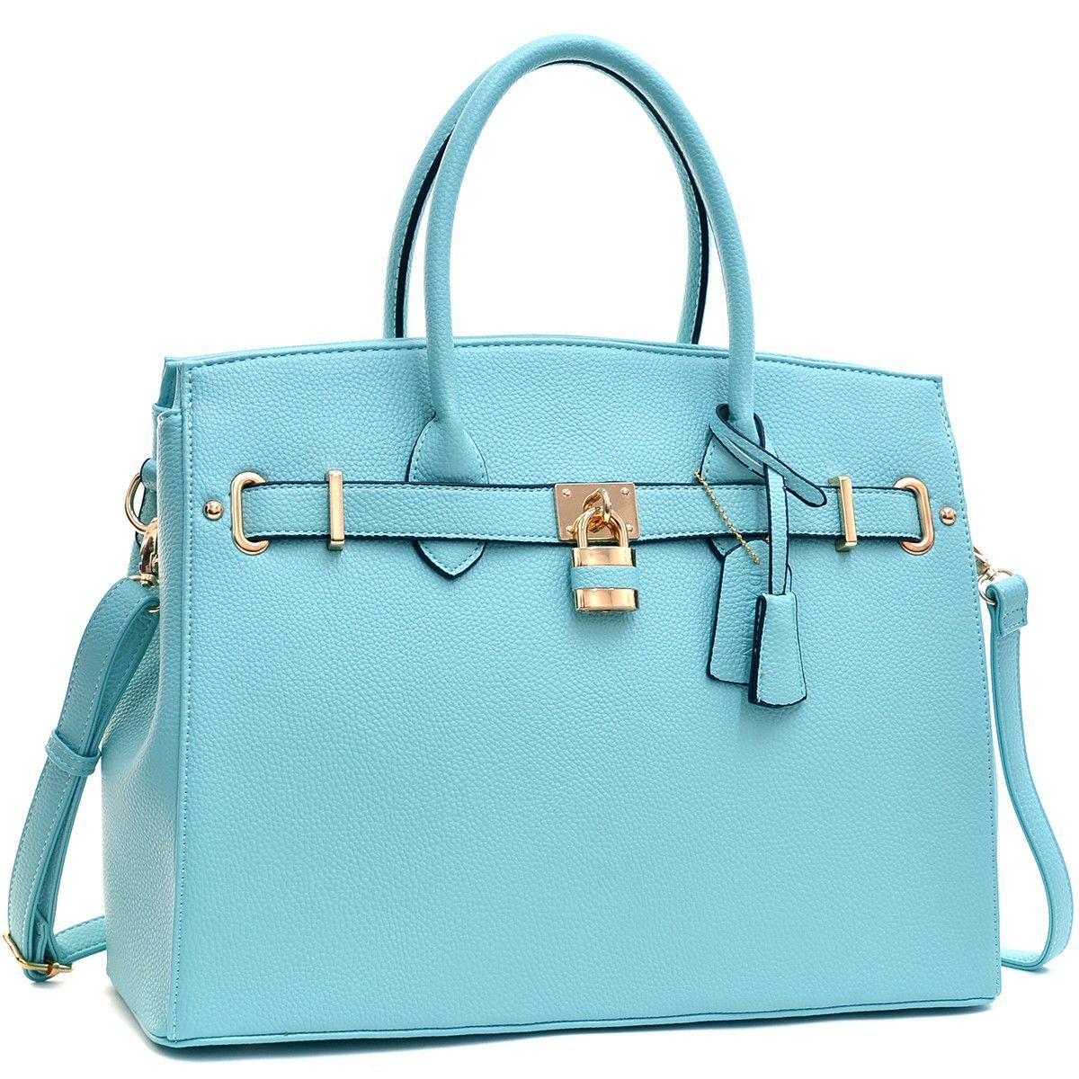 Dasein Padlock and Key Satchel with Shoulder Strap