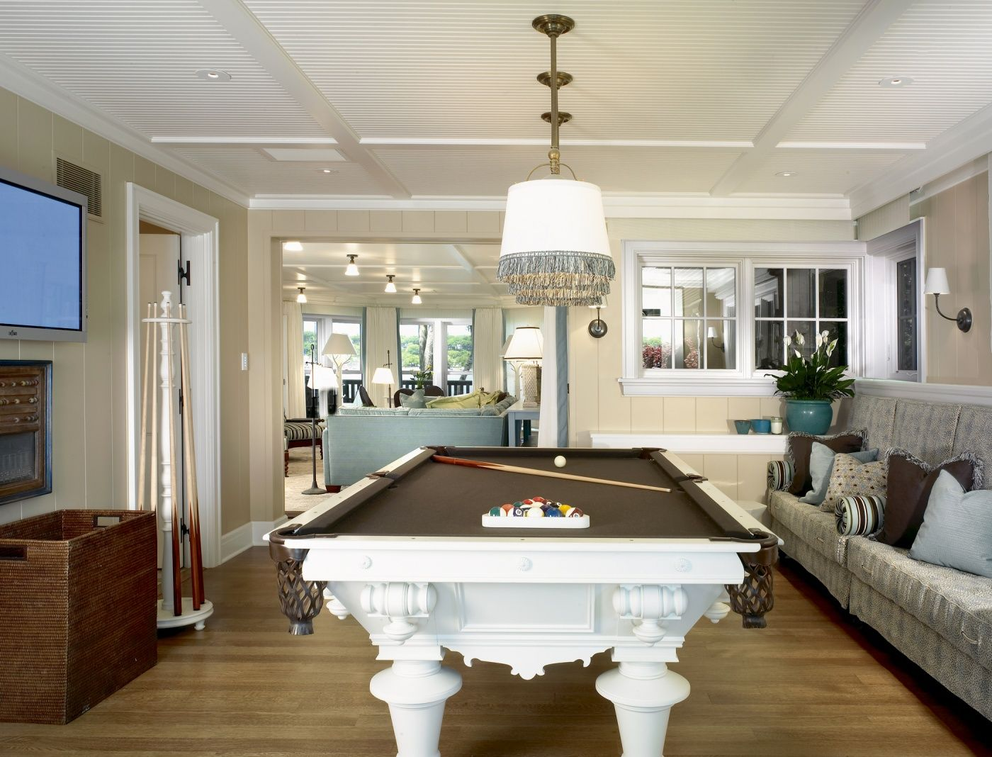 Pool tables are a fun accessory for your home, but they can suffer some wear and tear after years of play. white pool table - coastal style, Tom Stringer, Designer ...