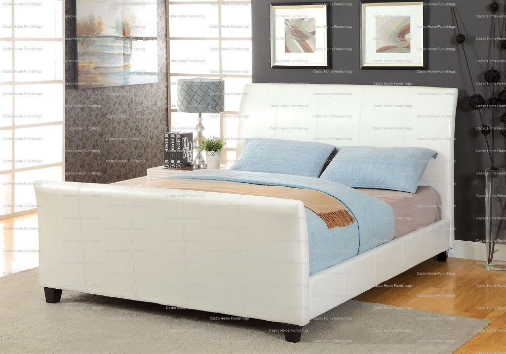 Amazing Queen Size Sleigh Bed Coloured White