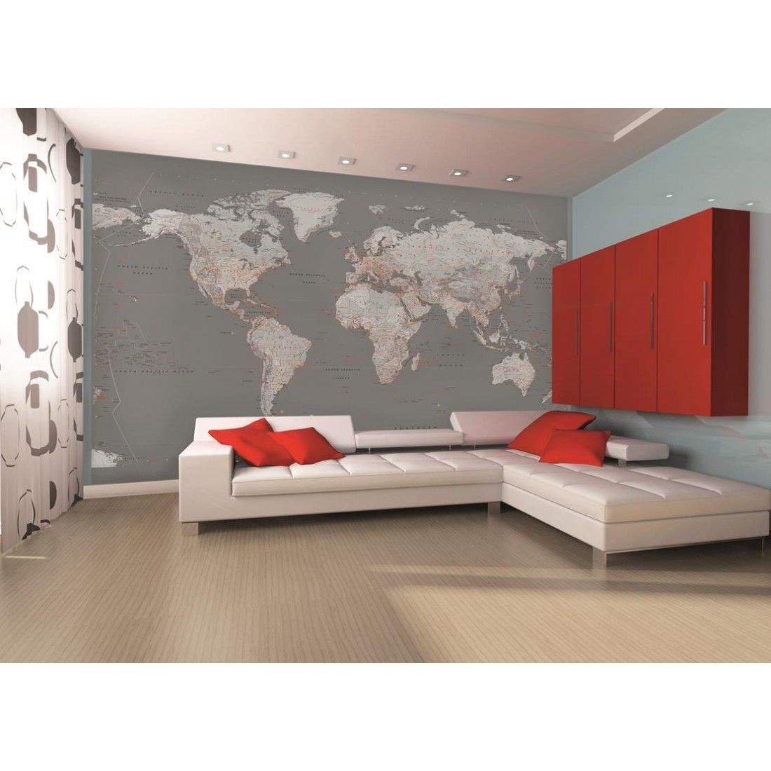 Silver World Map Wall Mural  Want Something Similar For The Office