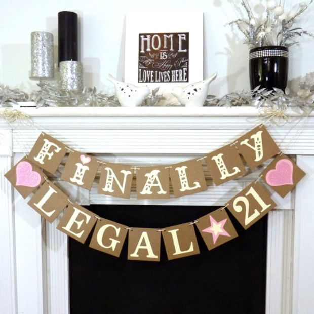 Finally Legal 21 Happy Birthday Party Banner Legally Of Age Photo Prop Office Rustic Chic