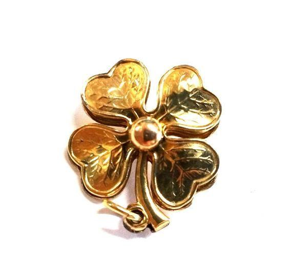 c990906e9e128 Vintage 12k Gold Filled Four Leaf Clover   BLITZ! Vintage Vogue