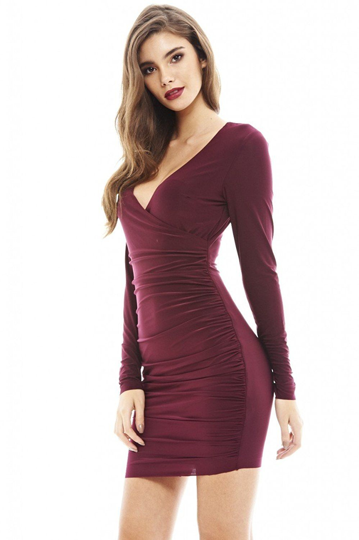 07174afa183 Amazon.com  AX Paris Women s V Front Slinky Ruched Dress  Clothing ...