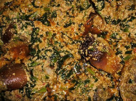 Another excellent West African Recipe: Egusi Stew.  Best with ground cassava/garri or rice