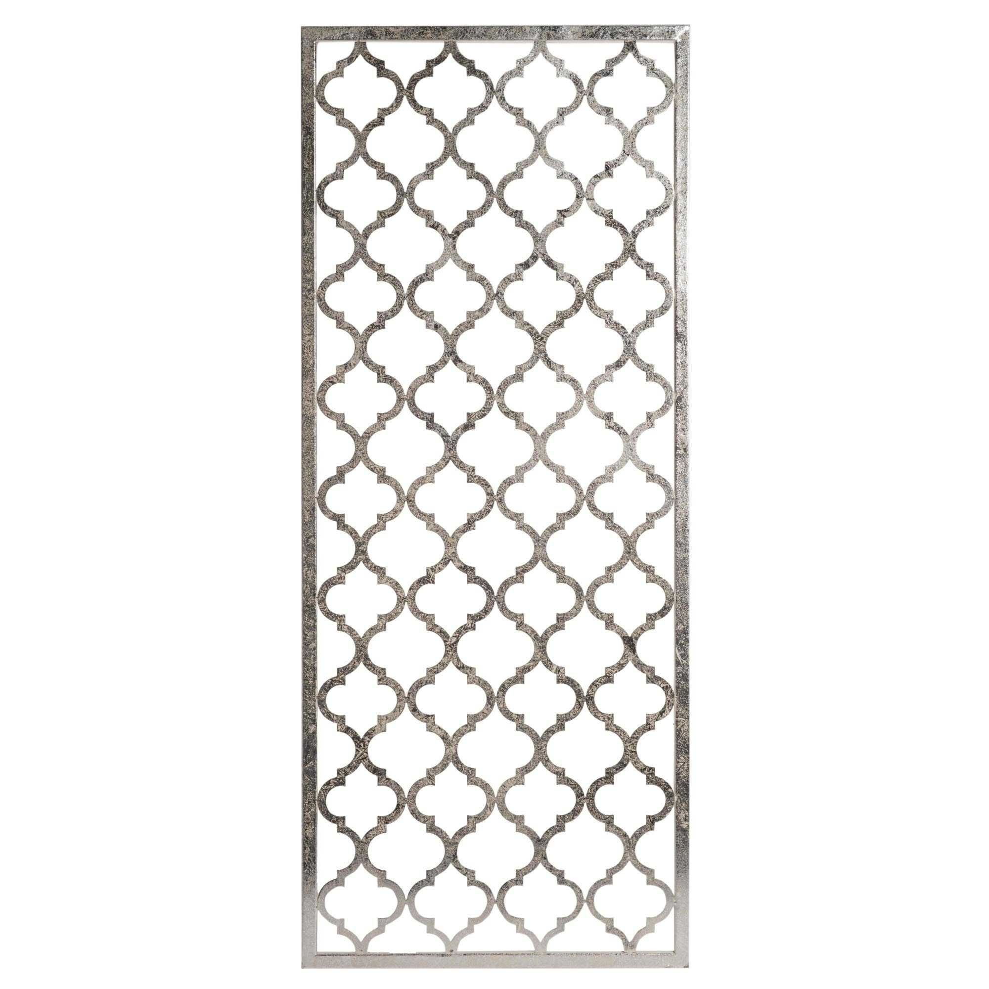 D co murale en m tal argent 44x106cm cala decor for Decoration murale objet