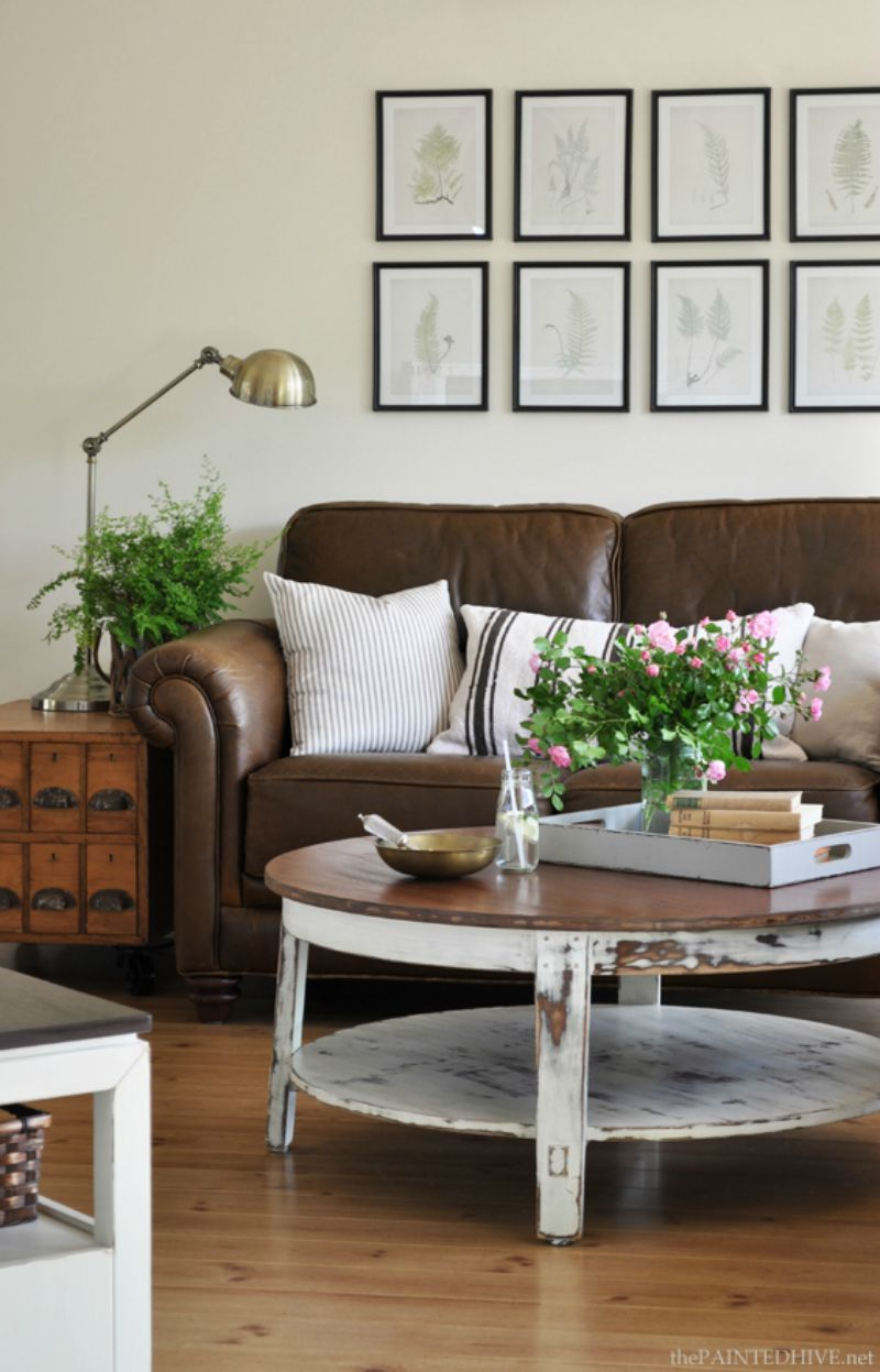 Brown Leather Sofa With Distressed Coffee Table