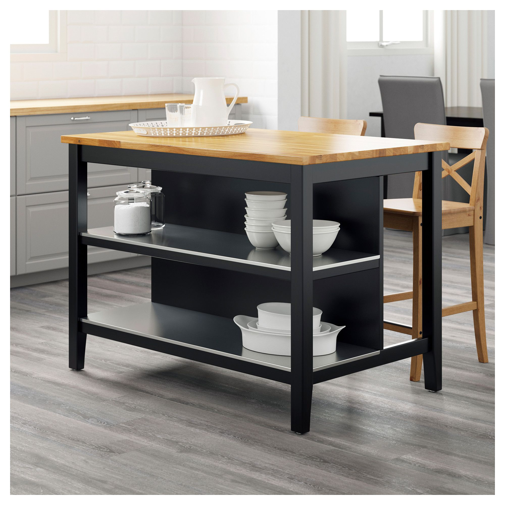 STENSTORP Kitchen island Black-brown/oak 126x79 cm | Island und Ikea