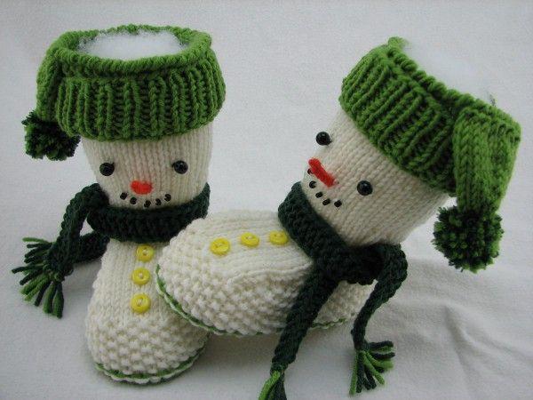Knitting baby boots Snowman himself - DIY ♥ | franjuri bej Boleros ...