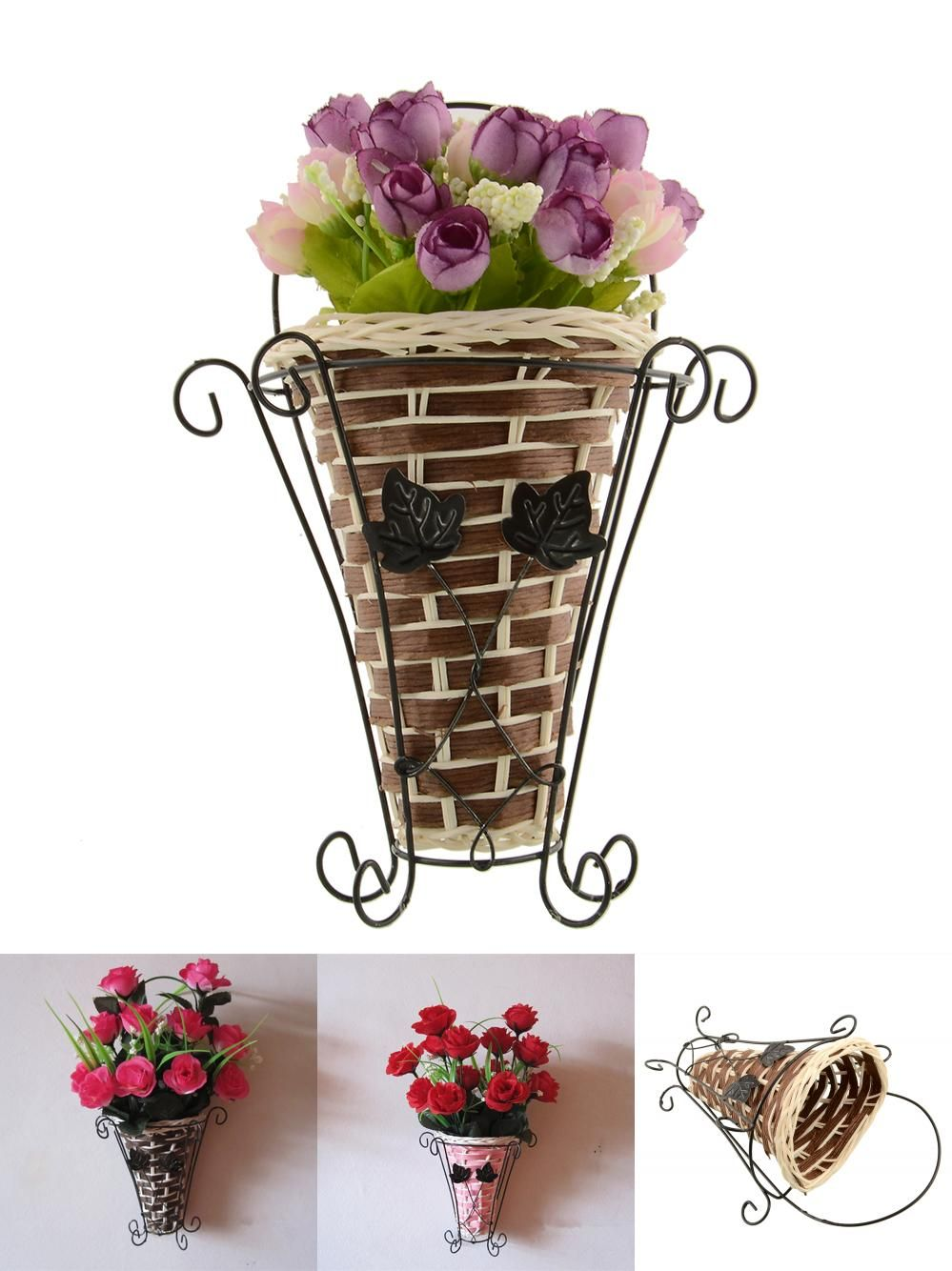 Home decor artificial flowers  Visit to Buy Weave Vine Mural Wall Hanging Artificial Flower Plant