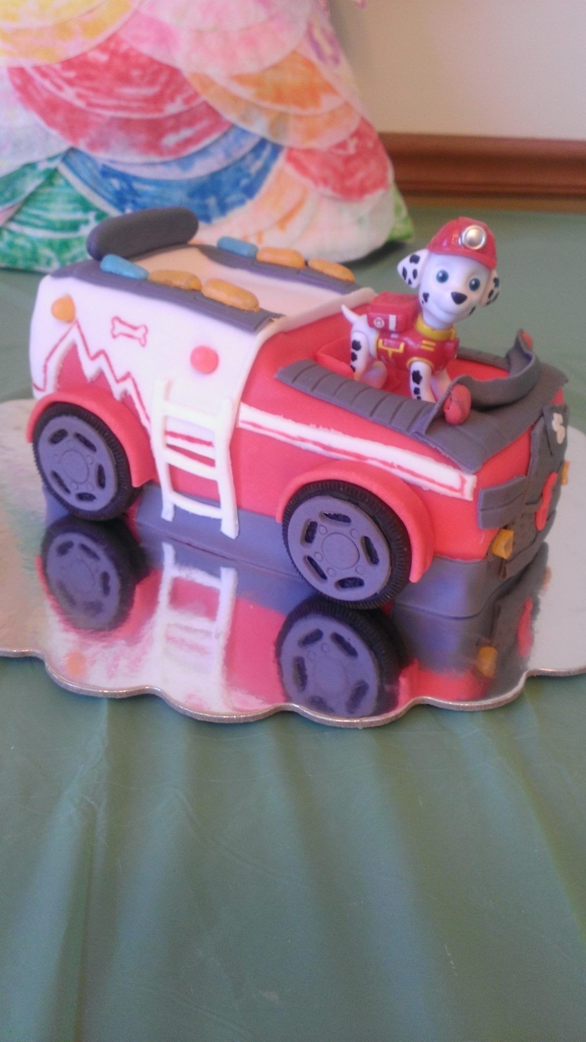 Paw Patrol Marshall Fire Truck 3d Sculpted Cake I Made For Boy Birthday Firetruck Cake Paw Patrol Cake 2 Birthday Cake