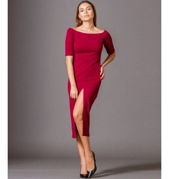 9ce1ab5c9490 Έξωμο Βραδινό Φόρεμα Midi με Σκίσιμο Εμπρός - Μπορντό