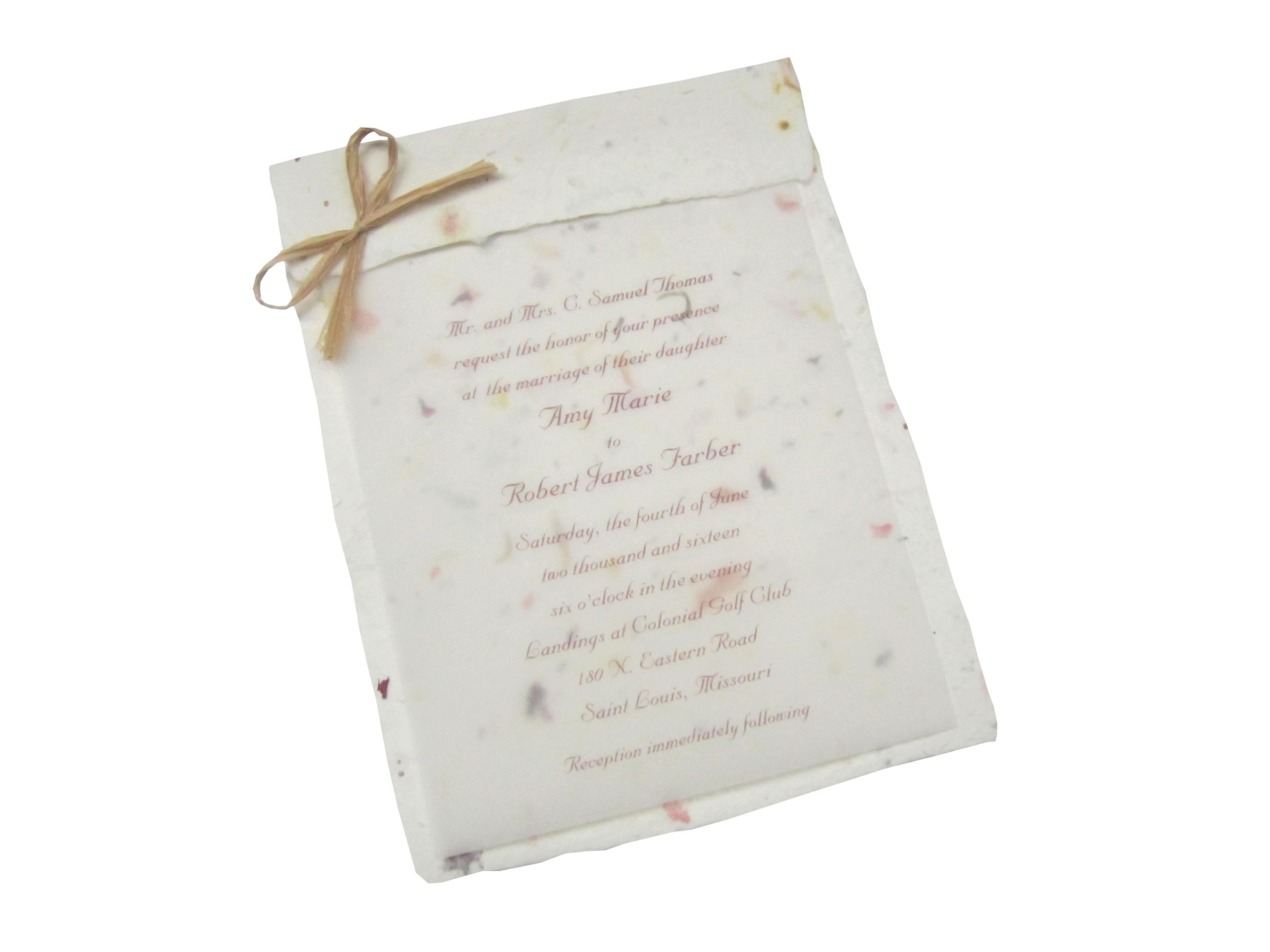 White Floral Foldover Seed Paper Wedding Invitation. Handcrafted ...