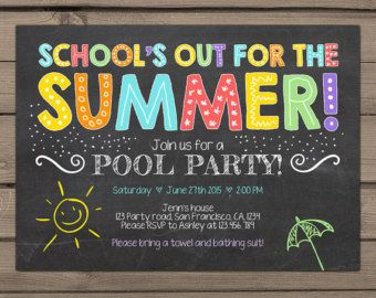 pool party invitation end of year party by fancyshmancynotes