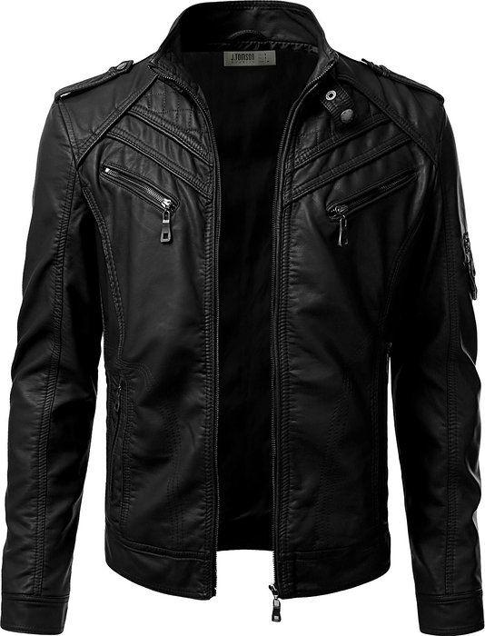 Idarbi Mens Prime Pu Leather Skinny Fit Rider Jacket Leather