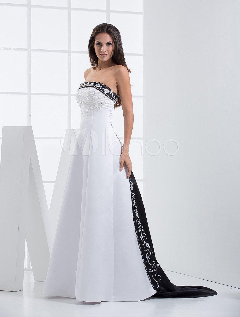 7ef1fab6d3a1f Vestidos de novia sin tirantes de encaje bordado vestido de novia de ...