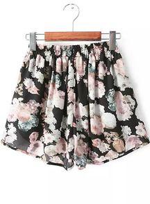 Shorts gasa floral cintura elástica-rosado