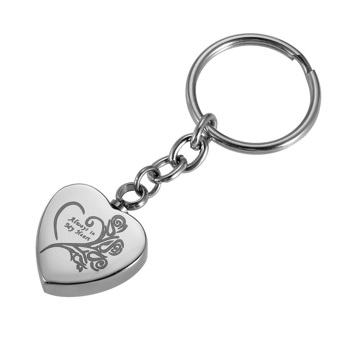 Cremation Keepsake Memorial Keychain Urn Silver w// Wing Heart Charm