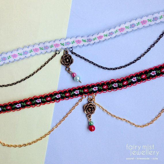 Flower Choker Chain and Rose Pastel Coloured by fairymistjewellery